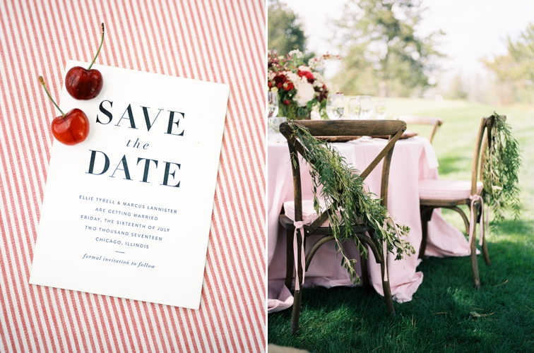 Colorado County Club Wedding: Save the Date Cherry Decor