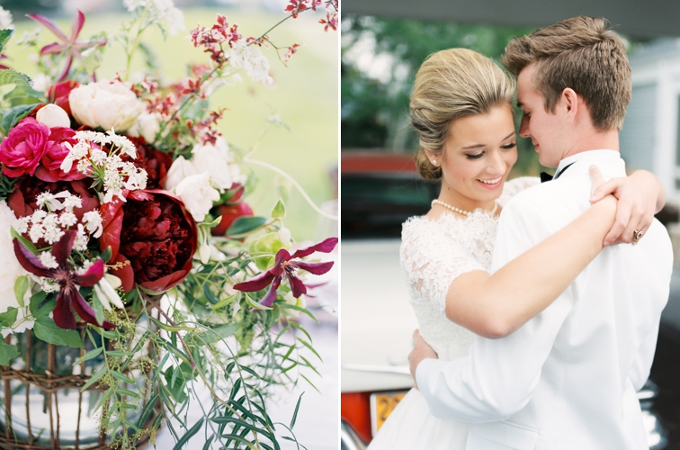 Colorado County Club Wedding: Bride and Groom Embracing Garden Roses