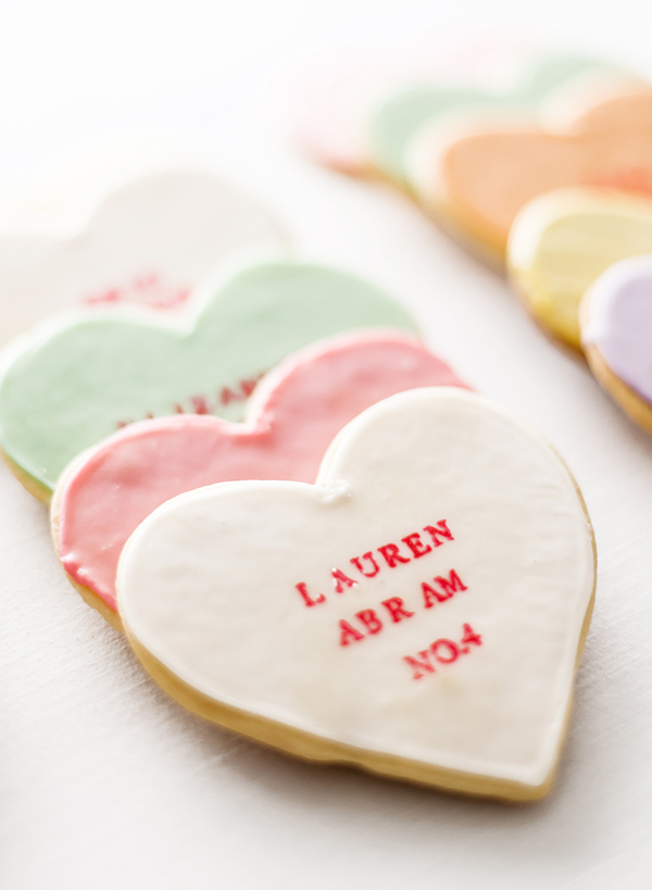 DIY Conversation Heart Cookies, Hand Stamped Cookies with Recipe, Danielle DeFiore, Bumblebee Truck, Unique Escort Card Ideas, Unique Wedding Favors