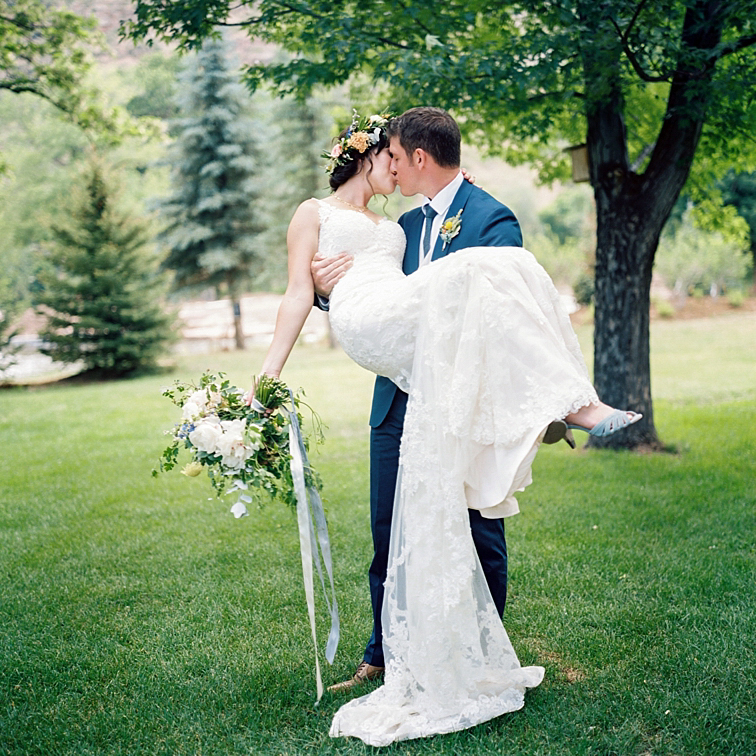 Bride And Groom At The River Bend