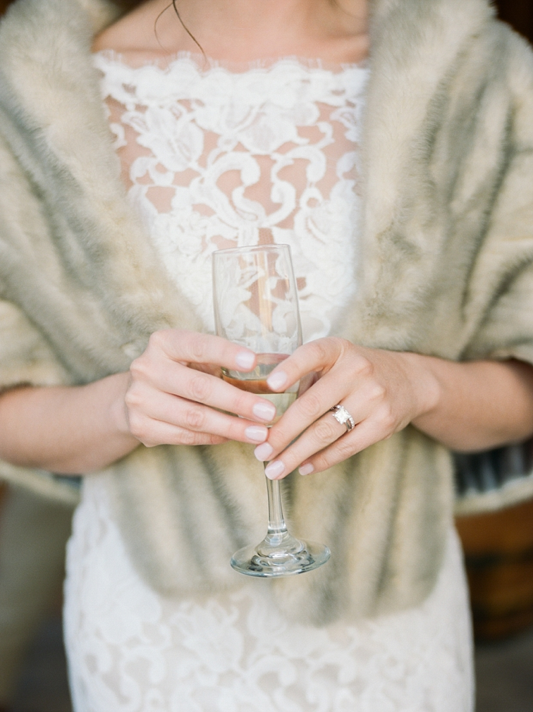 Bride with Champagne, Piney River Ranch, Vail, Colorado