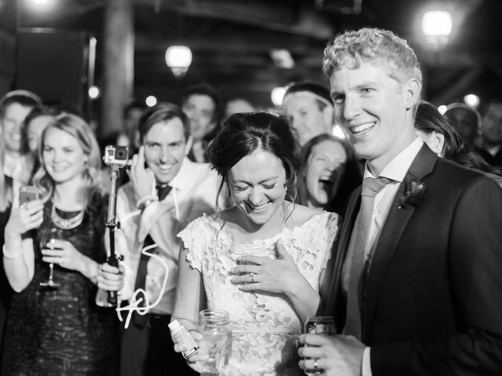 piney river ranch wedding, black and white, bride laughing