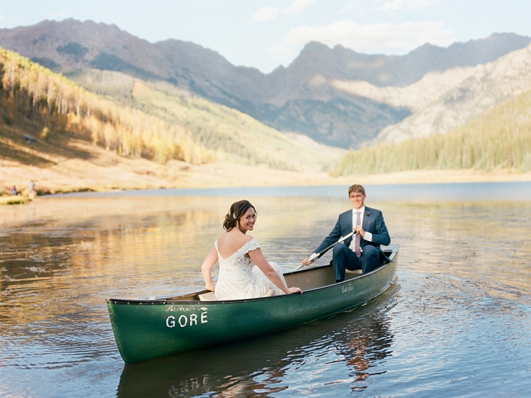 Bride And Groom In Canoe, Piney River Ranch, Colorado