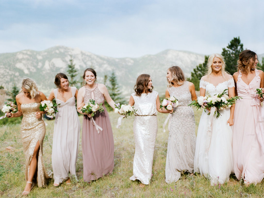 Bridesmaids Walking, Taharaa Mountain Lodge, Estes Park Wedding Photos