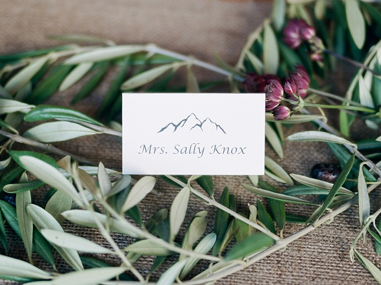Place Cards at Piney River Ranch Mountain Wedding
