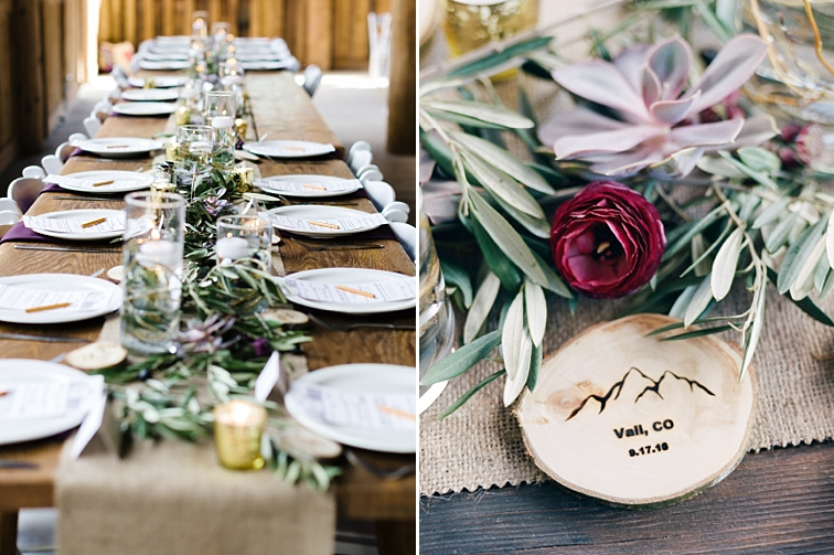 Table Decor - Piney River Ranch, Mountain Wedding