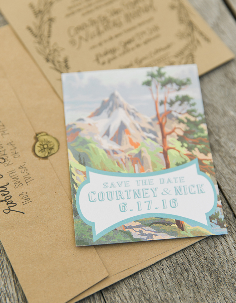 Lyons farmette, Danielle Defiore photography, outdoor wedding, outdoor ceremony, outdoor reception, tented reception; farm wedding; kraft paper stationery; mountain scene save the date; painted save the date