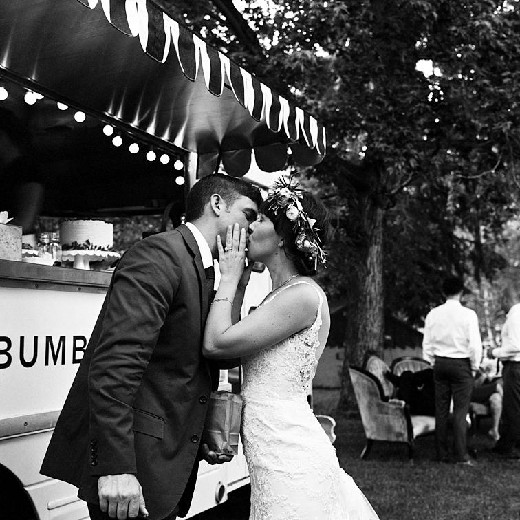 Groom Kissing Bride, Lyons Colorado Wedding, River Bend Wedding, Colorado Desintation Weddings, Wedding Colorado, Danielle DeFiore