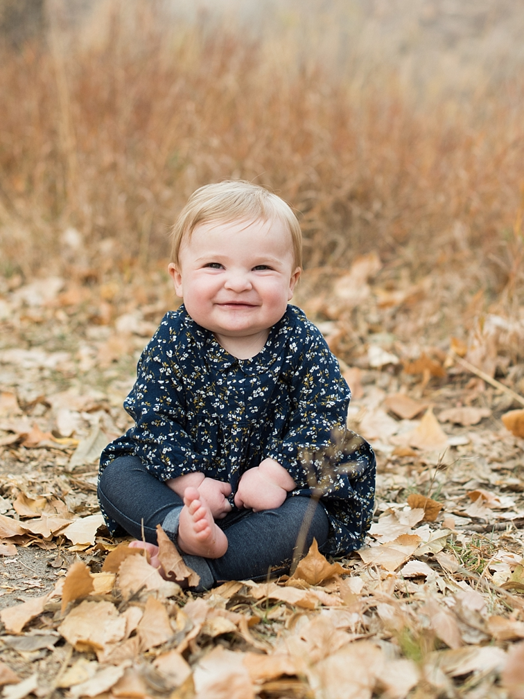 Baby Smiling, Sitting In Leaves, Fort Collins Family Portraits
