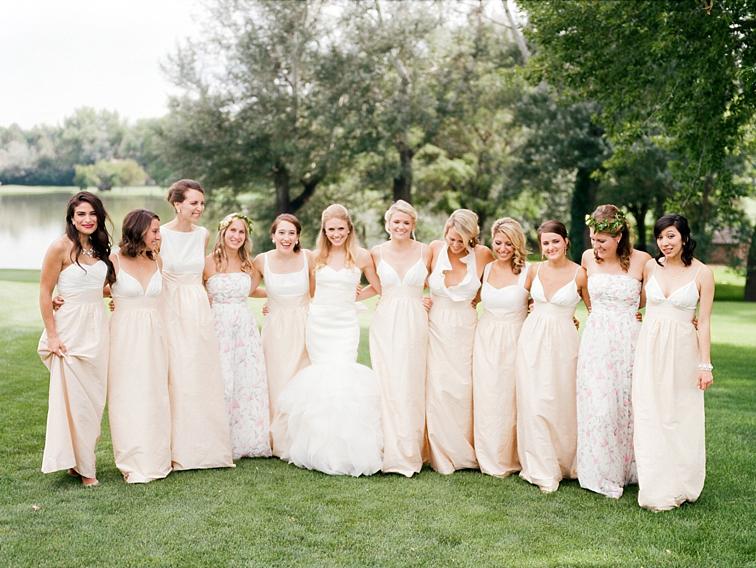 Bride with Bridesmaids, Groom - Denver Wedding Photos, Cherry Hills Country Club