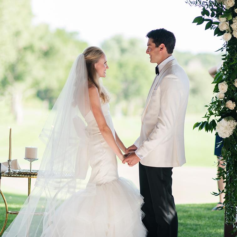 Bride & Groom Holding Hands, Denver Wedding Photos, Cherry Hills Country Club