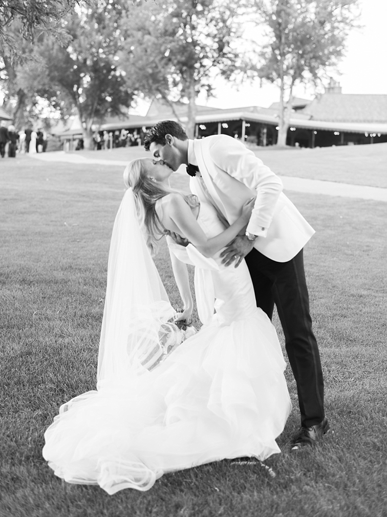 Bride & Groom, Leaning Kiss - Denver Wedding Photos, Cherry Hills Country Club
