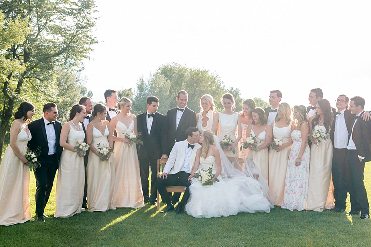 Group Photo, Bride & Groom Kiss - Denver Wedding Photos, Cherry Hills Country Club