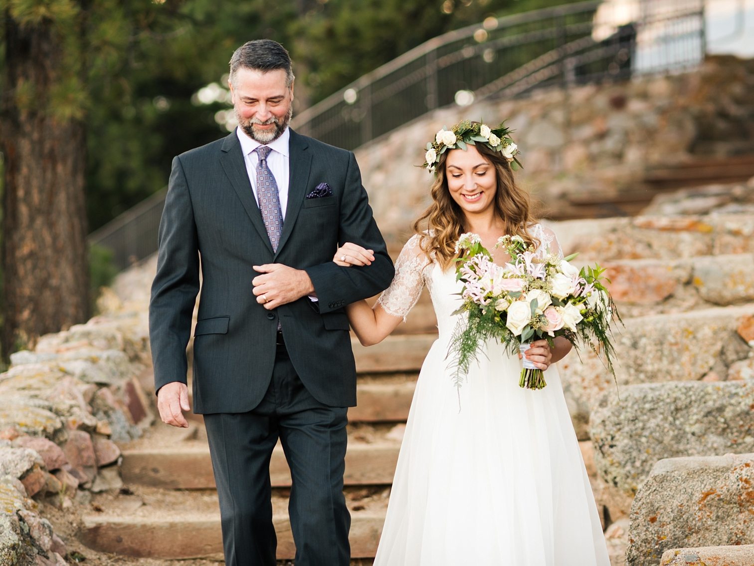 Mountain Weddings, Father Walking Bride Down Aisle, Flagstaff Mountain Wedding, Sunrise Amphitheater, Colorado Photographers, Best Destination Weddings, Danielle DeFiore Photography