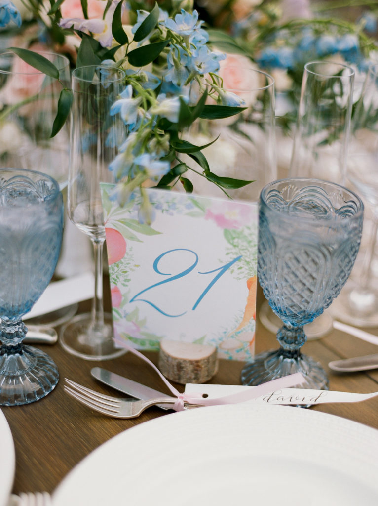 Denver Colorado, Mountain Weddings, Cherokee Castle, Hand Illustrated Table Numbers