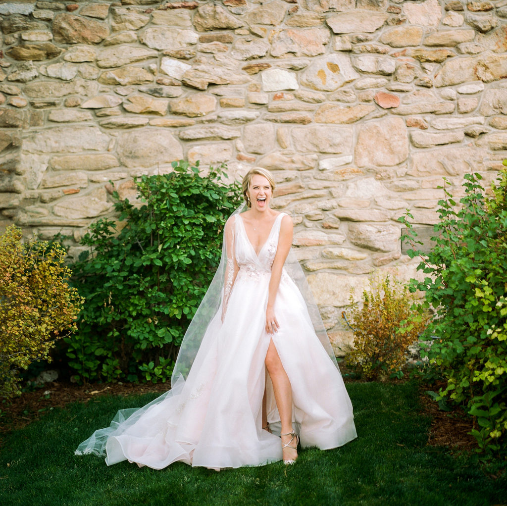 Denver Colorado, Mountain Weddings, Cherokee Castle, Bride in Blush Dress