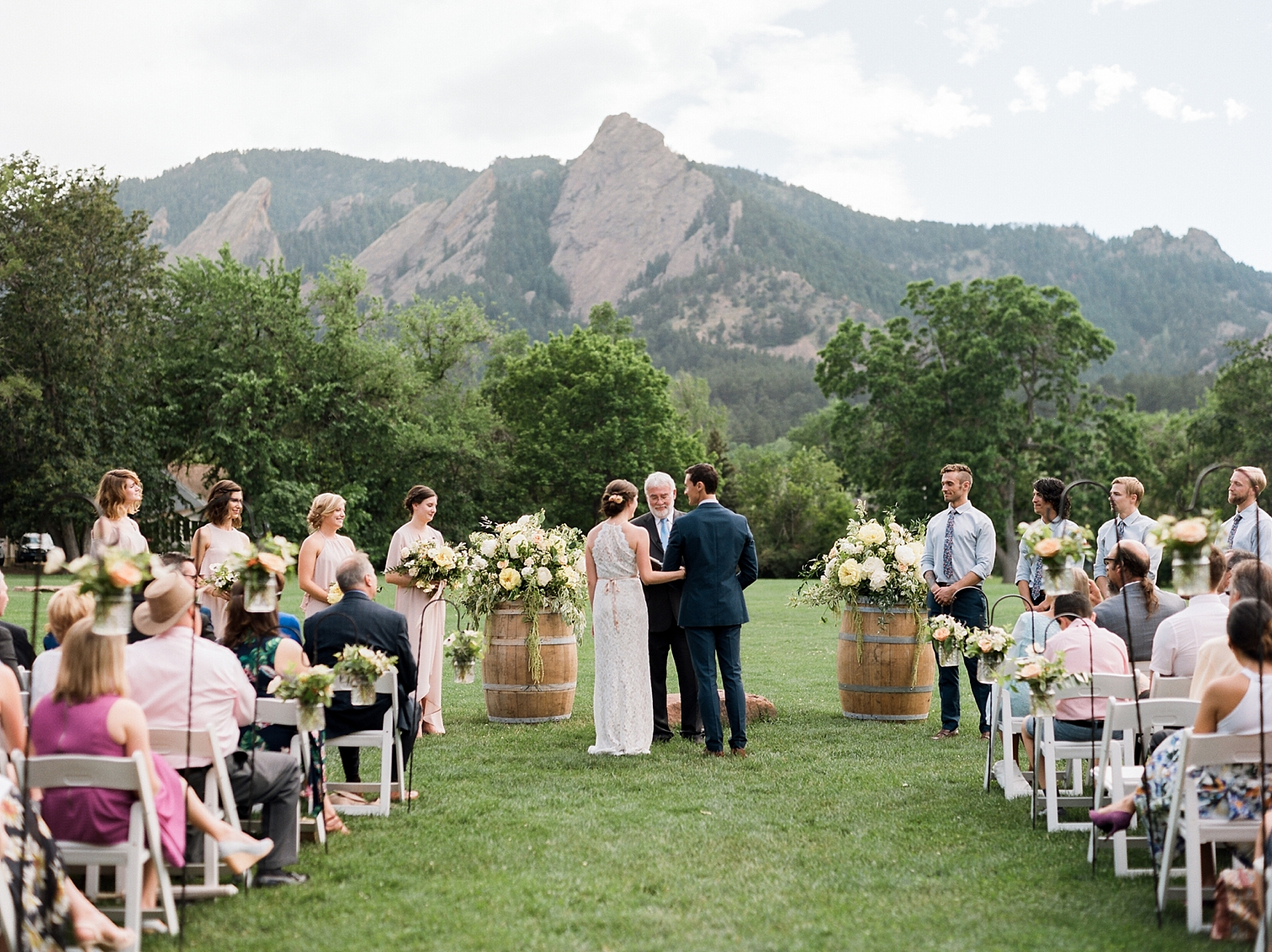 Outdoor Wedding Details, Colorado Mountain Weddings, Danielle DeFiore Photographer, Destination Wedding Photographers, Weddings in Boulder Colorado, Outdoor Ceremony, Film Photographer, Bride And Groom Staning At Alter