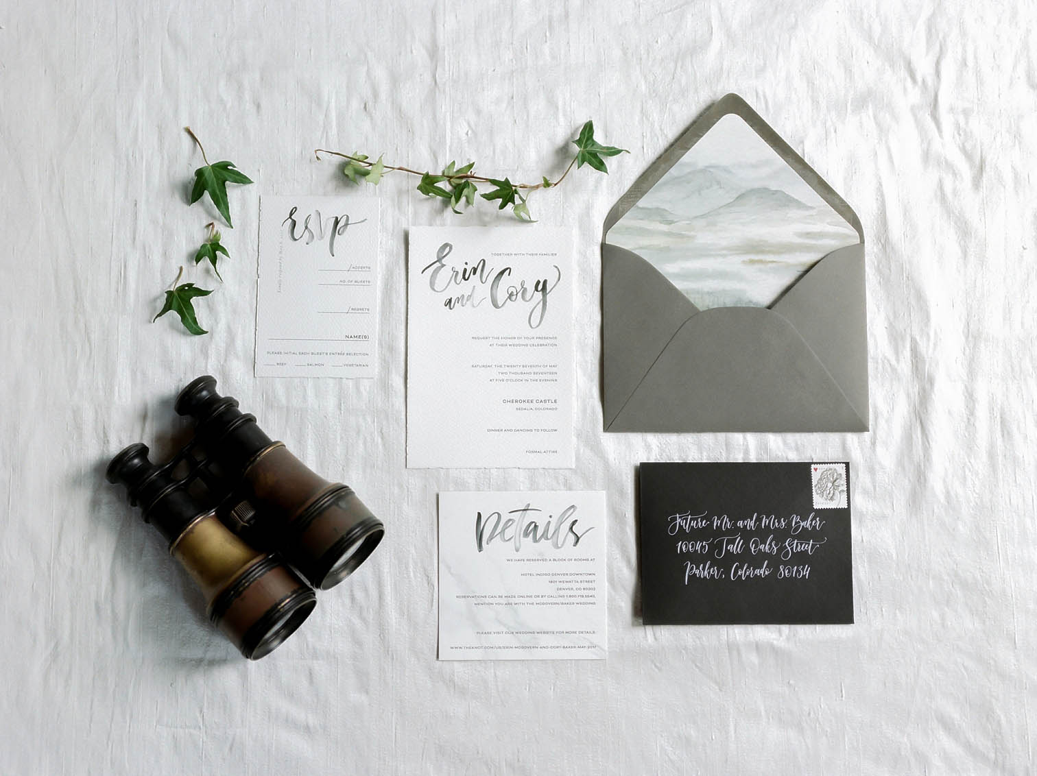 Mountain Wedding Inspiration, Wedding Invitation Suite, Danielle DeFiore Photographer, Colorado Wedding Photographers, Castle Wedding, Classic Black Tie Wedding, Film Photographer, Colorado Weddings