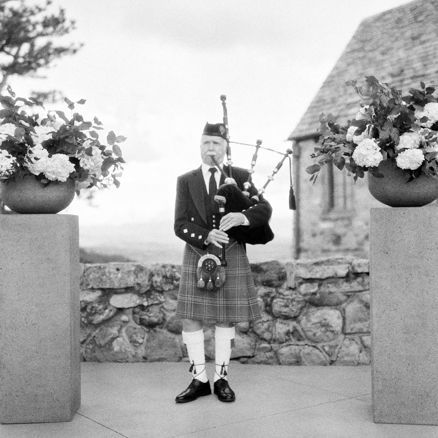 Scottish Wedding, Bagpipe Player, Mountain Weddings, Danielle DeFiore Photographer, Bride and Groom Portraits, Colorado Wedding Photographers, Castle Wedding, Classic Black tie Wedding, Film Photographer, Colorado Weddings, Black and White Photography