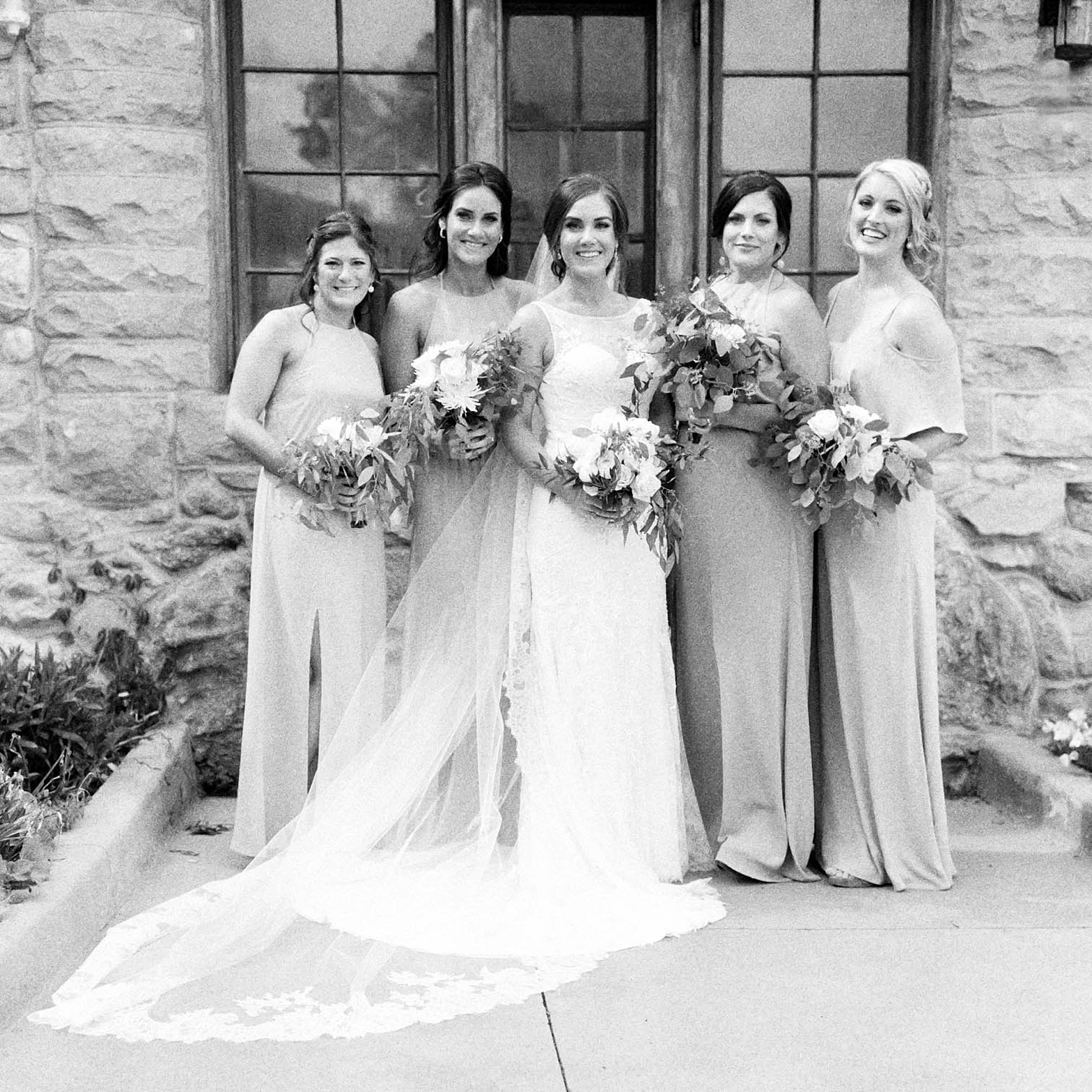 Wedding Party, Bridesmaids, Rolleiflex Camera, First Kiss, Mountain Weddings, Danielle DeFiore Photographer, Bride and Groom Portraits, Colorado Wedding Photographers, Castle Wedding, Classic Black tie Wedding, Film Photographer, Colorado Weddings, Black and White Photography