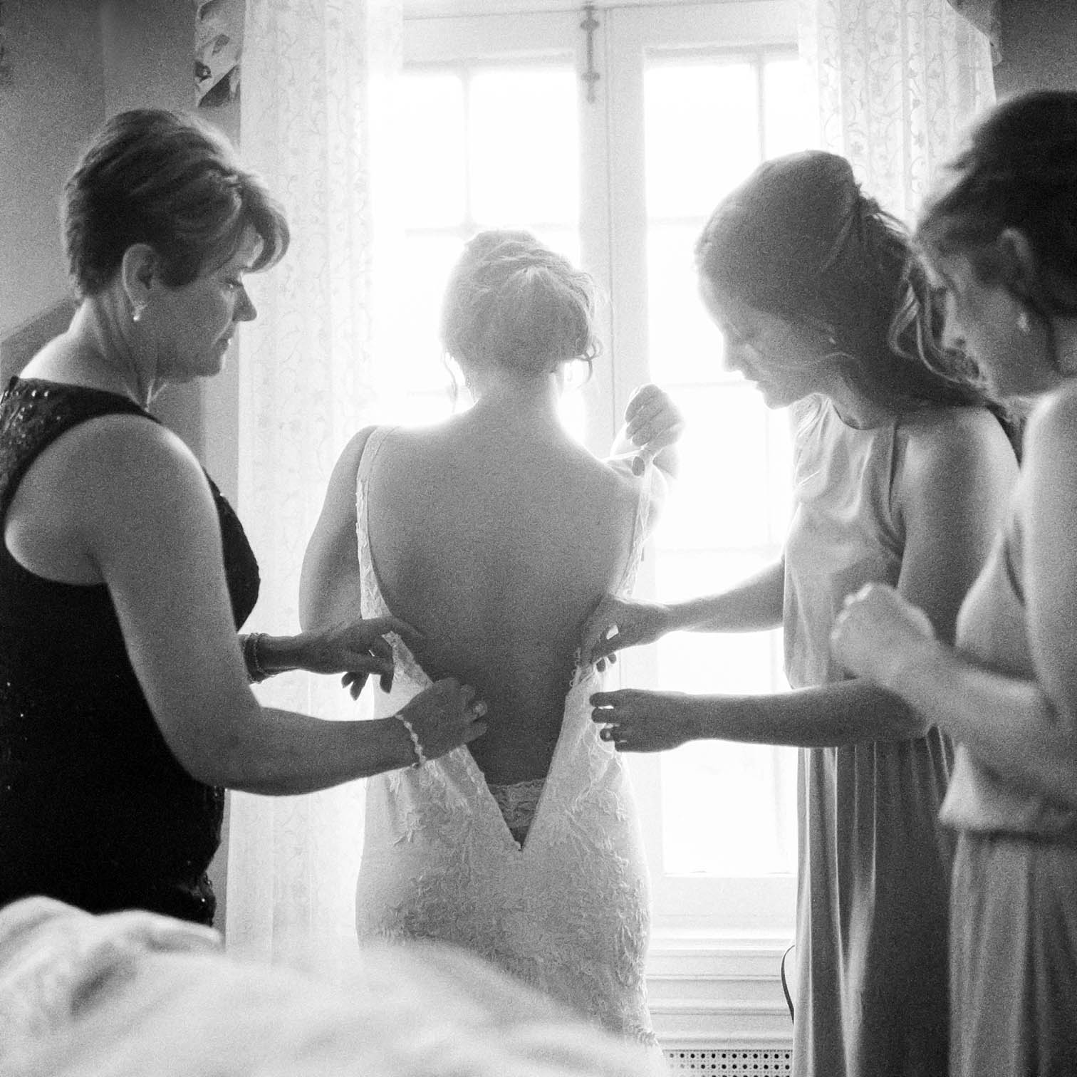 Bride Getting Ready, Lace Wedding Dress, Rolleiflex Camera, Mountain Weddings, Danielle DeFiore Photographer, Colorado Wedding Photographers, Castle Wedding, Classic Black tie Wedding, Film Photographer, Colorado Weddings, Black and White Photography