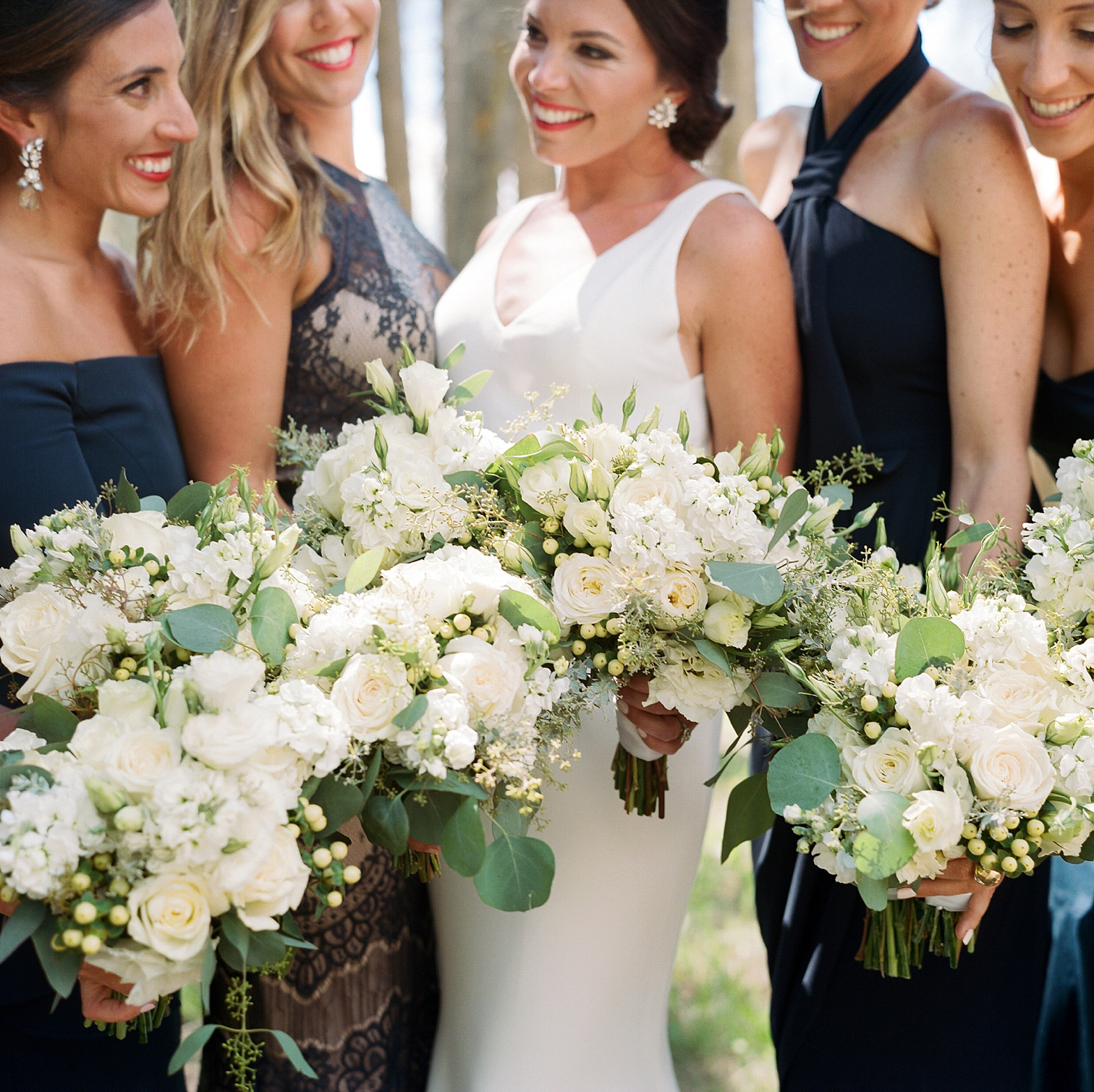 Bride with Bridesmaids, White Wedding Bouquets, Vail Colorado Wedding, Colorado Wedding Photographer, Film Photographer, Mountain Wedding, Colorado Destination Wedding Photographers, Best Photographers In Colorado, Film Photography, Denver Wedding Photographers