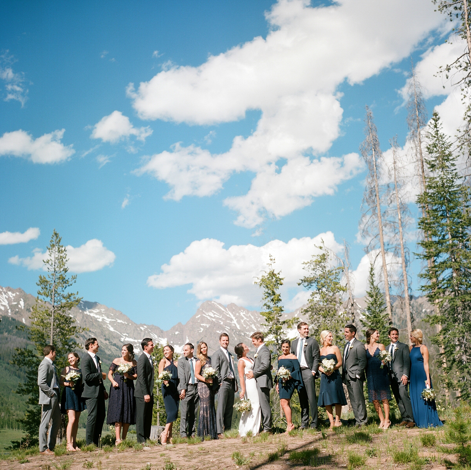 Vail Colorado Wedding, Colorado Wedding Photographer, Film Photographer, Mountain Wedding, Colorado Destination Wedding Photographers, Best Photographers In Colorado, Film Photography, Denver Wedding Photographers, Piney River Ranch, Wedding Party In Front Of Mountains