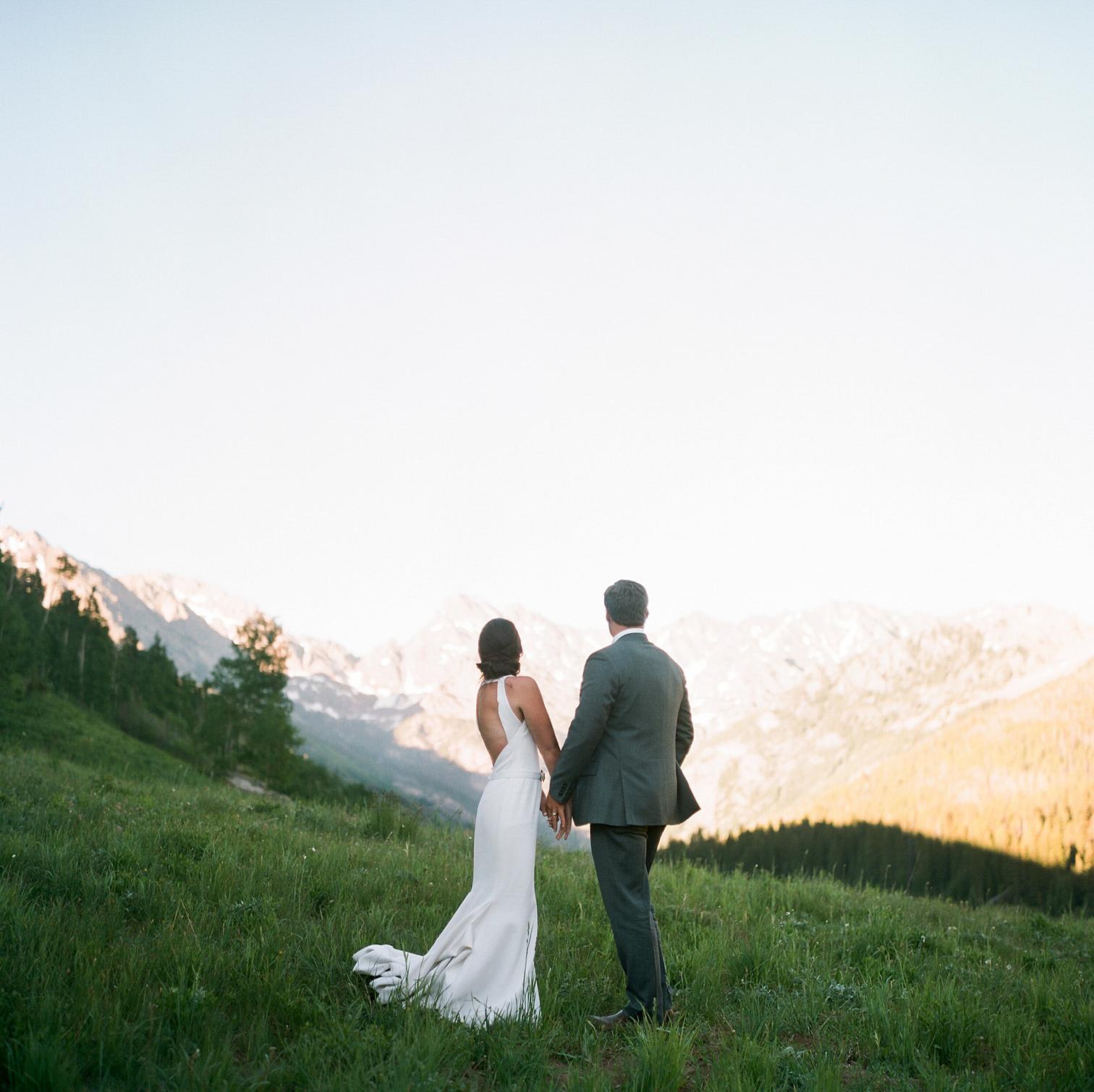 Vail Colorado Wedding, Colorado Wedding Photographer, Film Photographer, Mountain Wedding, Colorado Destination Wedding Photographers, Best Photographers In Colorado, Film Photography, Denver Wedding Photographers, Bride and Groom With Mountain Views, Piney River Ranch