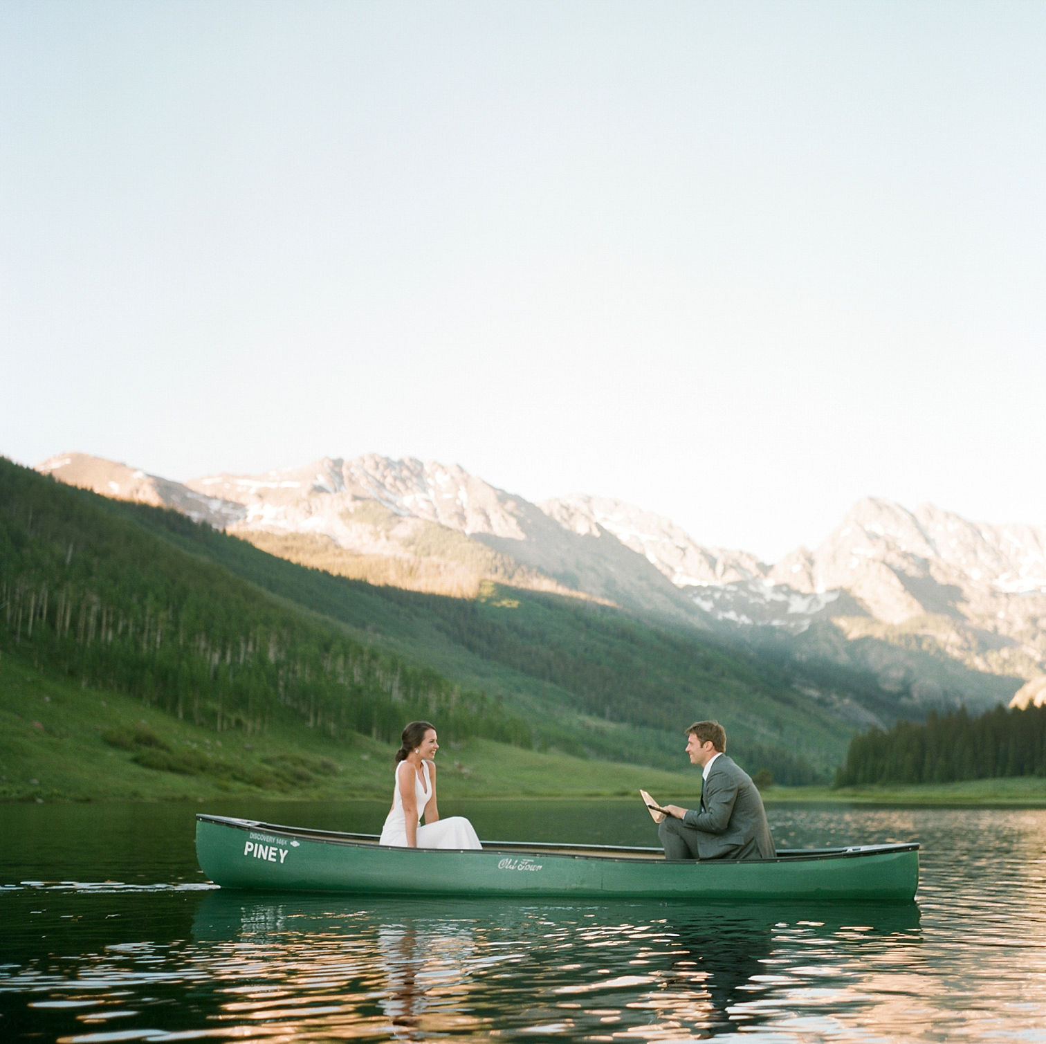 Vail Colorado Wedding, Colorado Wedding Photographer, Film Photographer, Mountain Wedding, Colorado Destination Wedding Photographers, Best Photographers In Colorado, Film Photography, Denver Wedding Photographers, Bride And Groom In A Canoe, Piney River Ranch Wedding