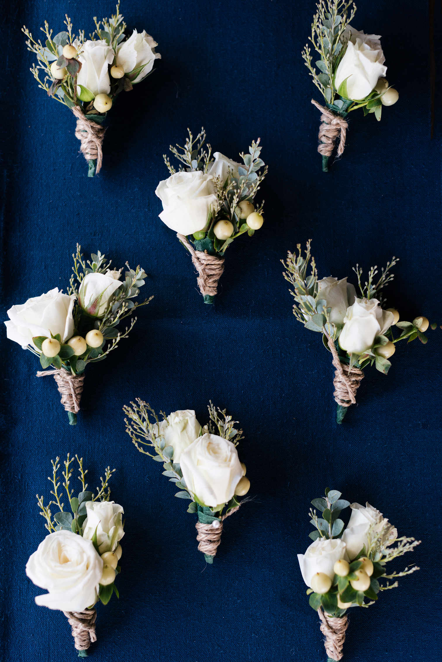 Piney River Ranch Wedding, White Rose Boutonnieres