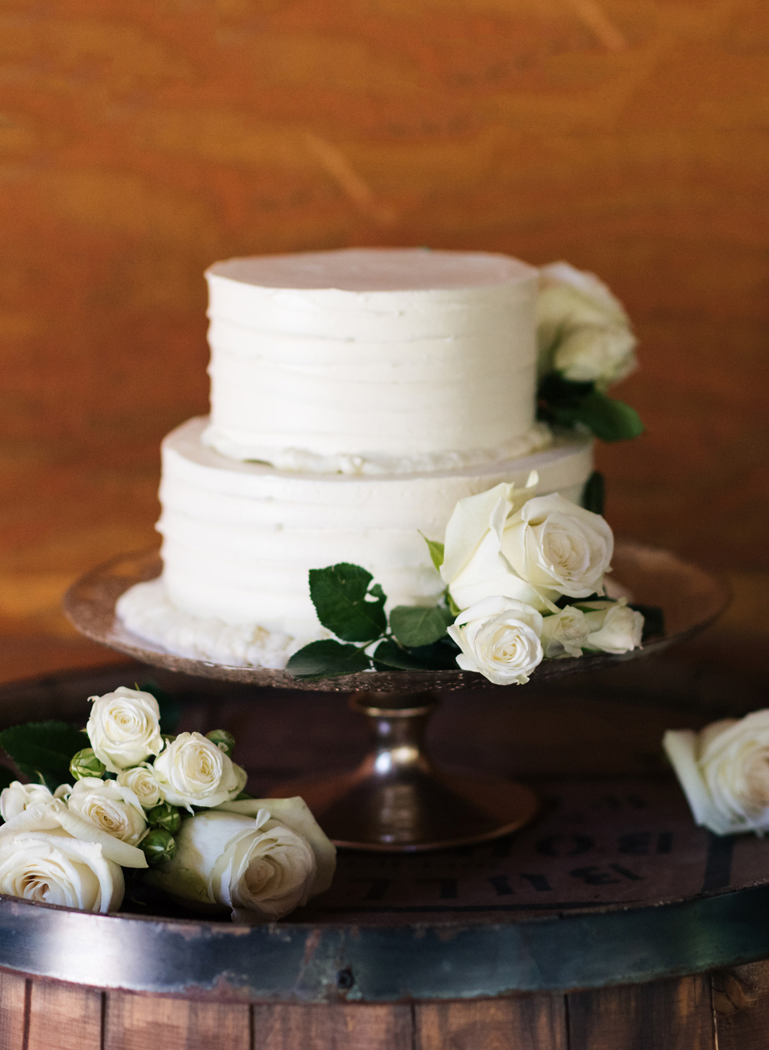 Piney River Ranch Wedding, Simple Two Layer Wedding Cake