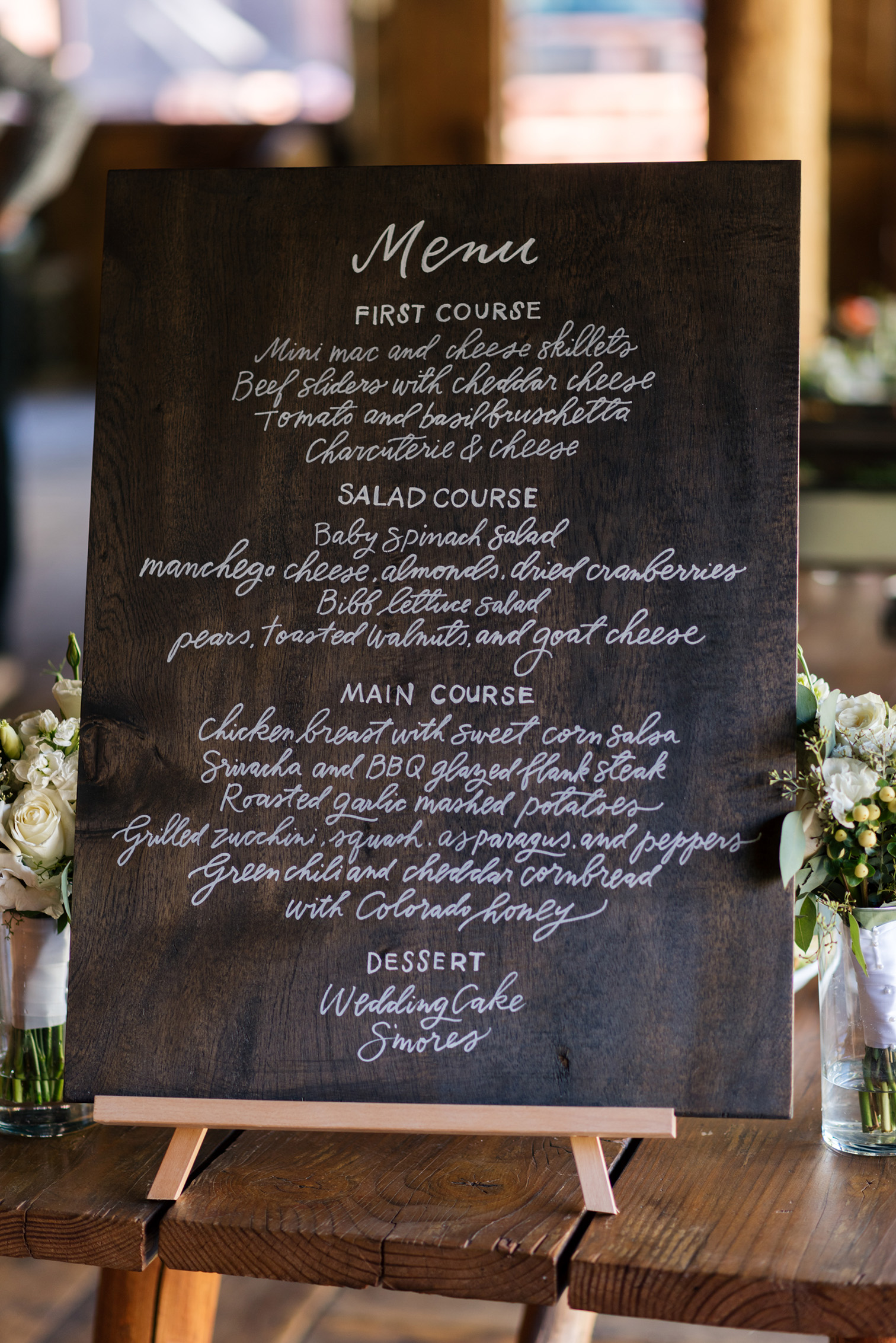 Piney River Ranch Wedding, Chalkboard Menu
