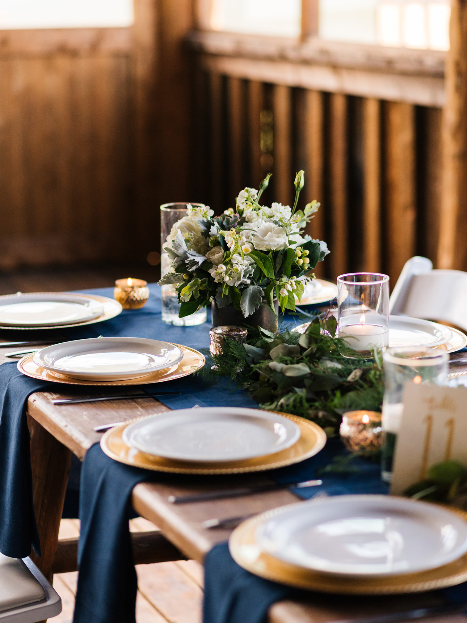 Piney River Ranch Wedding,  Navy and Gold Table Setting