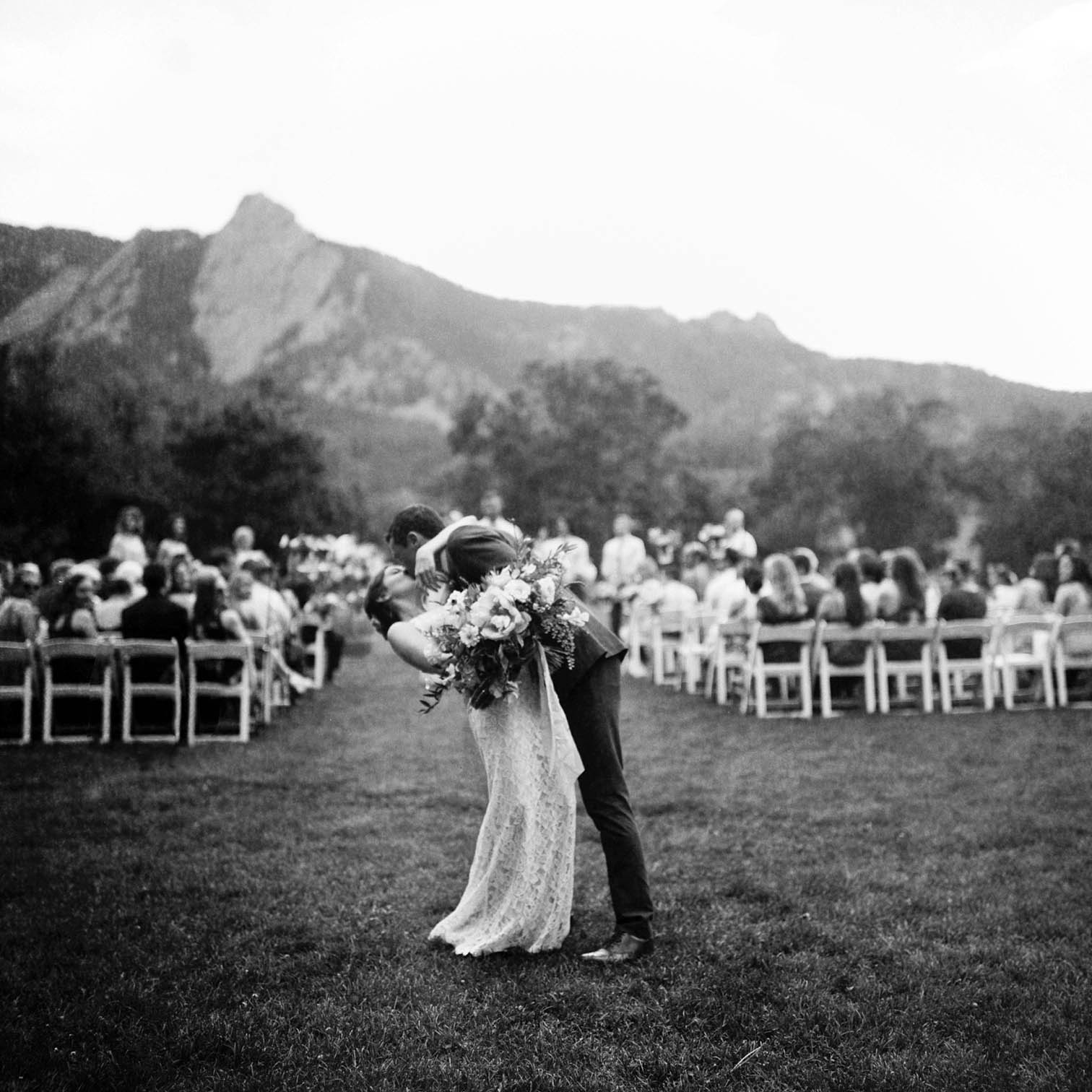 Outdoor Wedding Details, Colorado Mountain Weddings, Danielle DeFiore Photographer, Destination Wedding Photographers, Weddings in Boulder Colorado, Outdoor Ceremony, Film Photographer, Rolleiflex, Black and White Wedding Photos, Groom Kissing Bride