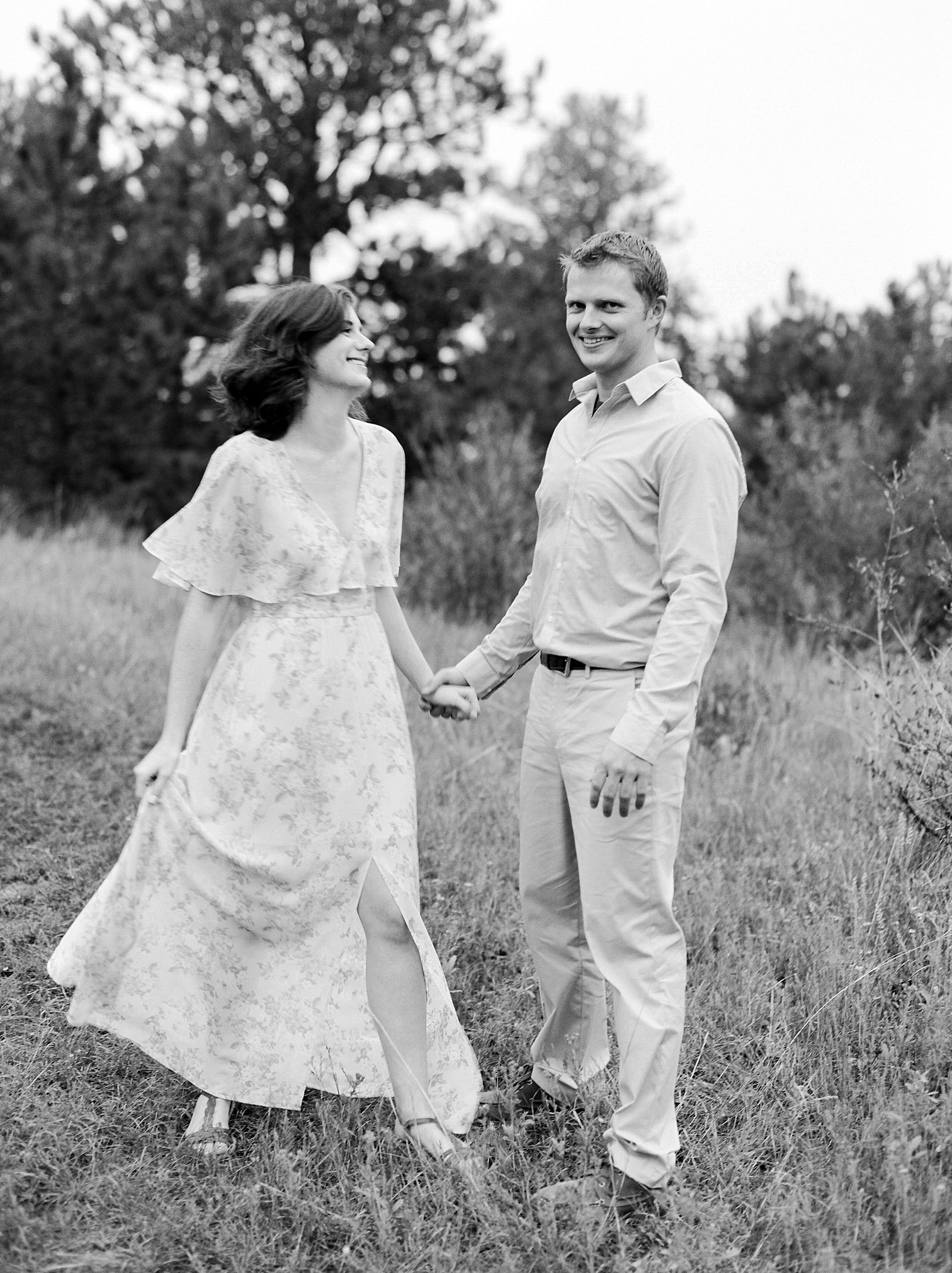 Colorado Engagement Photography, Colorado Engagement Photos, Denver Wedding Photographer, Engagement Photos In Colorado, Film Photographers In Colorado, Rolleiflex Portraits, Film Wedding Photographers, Best Engagement Photos In Colorado, Danielle DeFiore Photographers, Black And White Wedding Photos, Engaged Couple Laughing