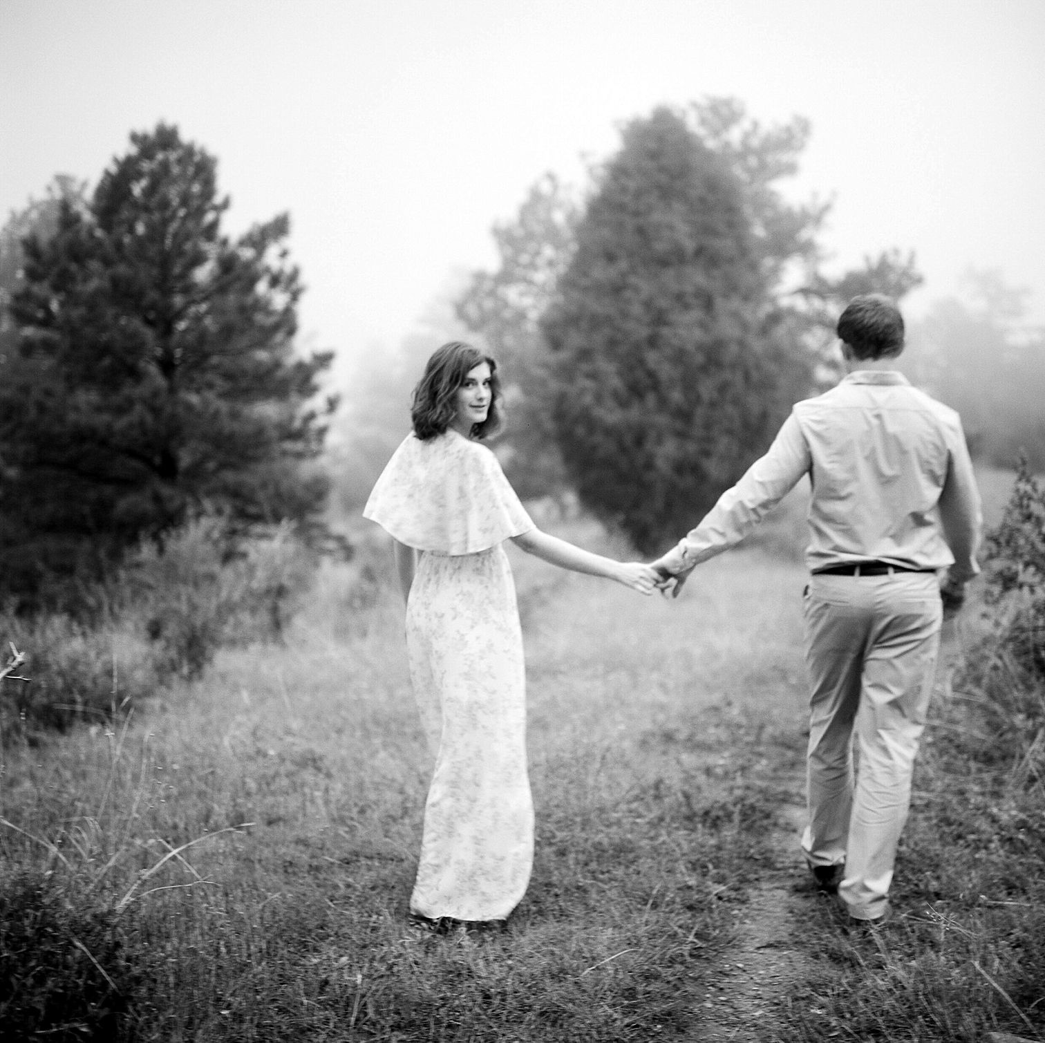 Colorado Engagement Photography, Colorado Engagement Photos, Denver Wedding Photographer, Engagement Photos In Colorado, Film Photographers In Colorado, Rolleiflex Portraits, Film Wedding Photographers, Best Engagement Photos In Colorado, Danielle DeFiore Photographers, Black And White Photos Of Engaged Couple, Couple Holding Hands
