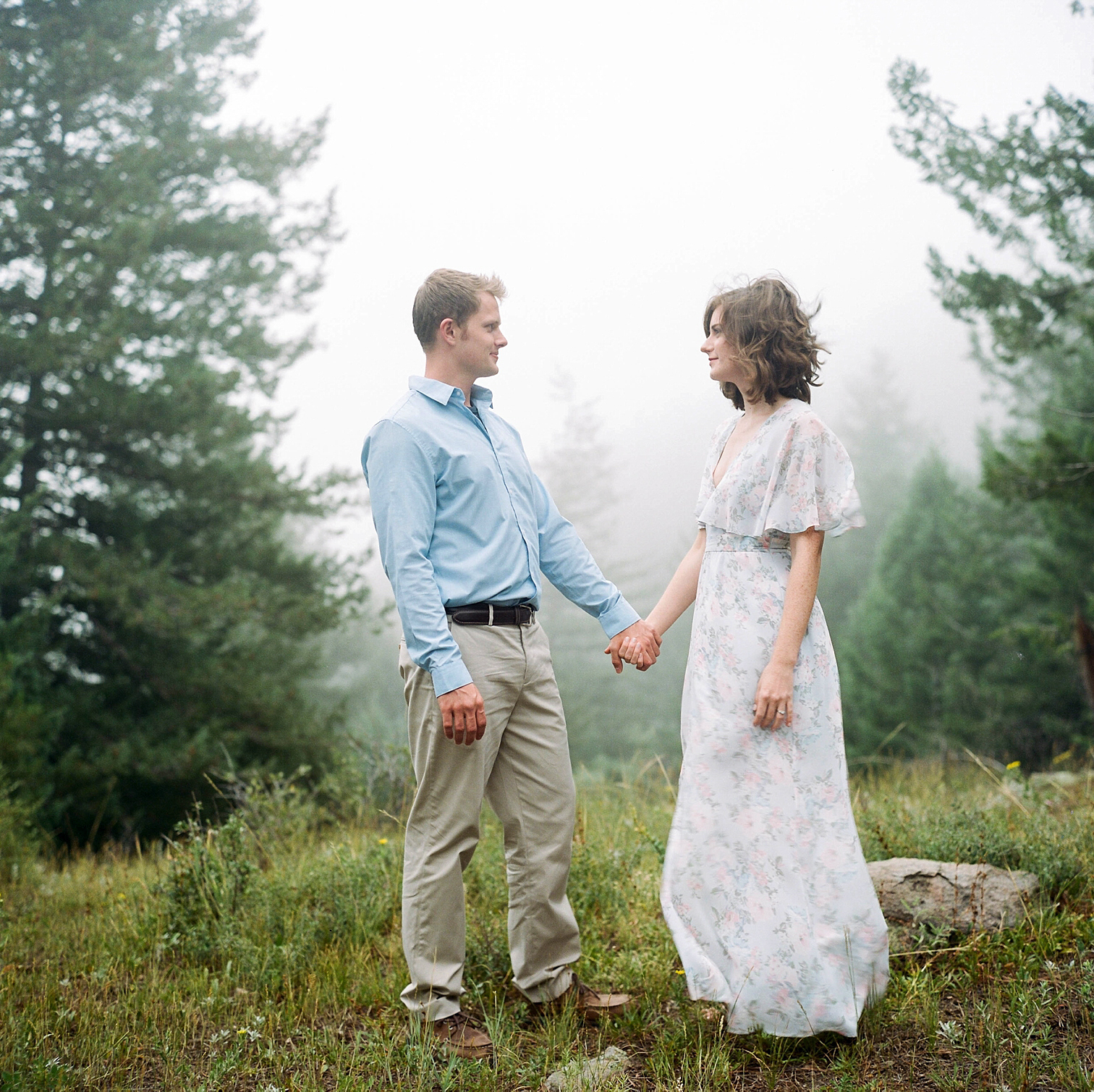 Colorado Engagement Photography, Colorado Engagement Photos, Denver Wedding Photographer, Engagement Photos In Colorado, Film Photographers In Colorado, Rolleiflex Portraits, Film Wedding Photographers, Best Engagement Photos In Colorado, Danielle DeFiore Photographers, Golden Colorado Engagement Photos, Couple Holding Hands On Mountain Top