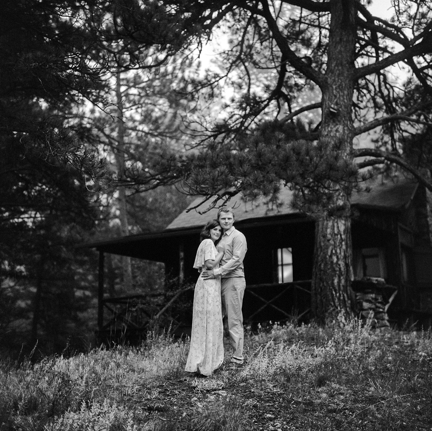 Colorado Engagement Photography, Colorado Engagement Photos, Denver Wedding Photographer, Engagement Photos In Colorado, Film Photographers In Colorado, Rolleiflex Portraits, Film Wedding Photographers, Best Engagement Photos In Colorado, Danielle DeFiore Photographers, Couple Standing By Cabin