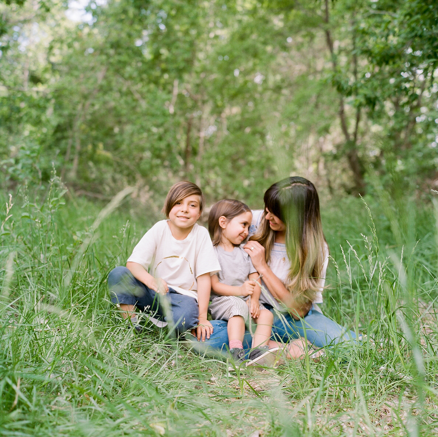 Film Photographers, Colorado Family Portraits, Fort Collins Portrait Photographer, Mom with Children In Grass, Summer Family Portraits