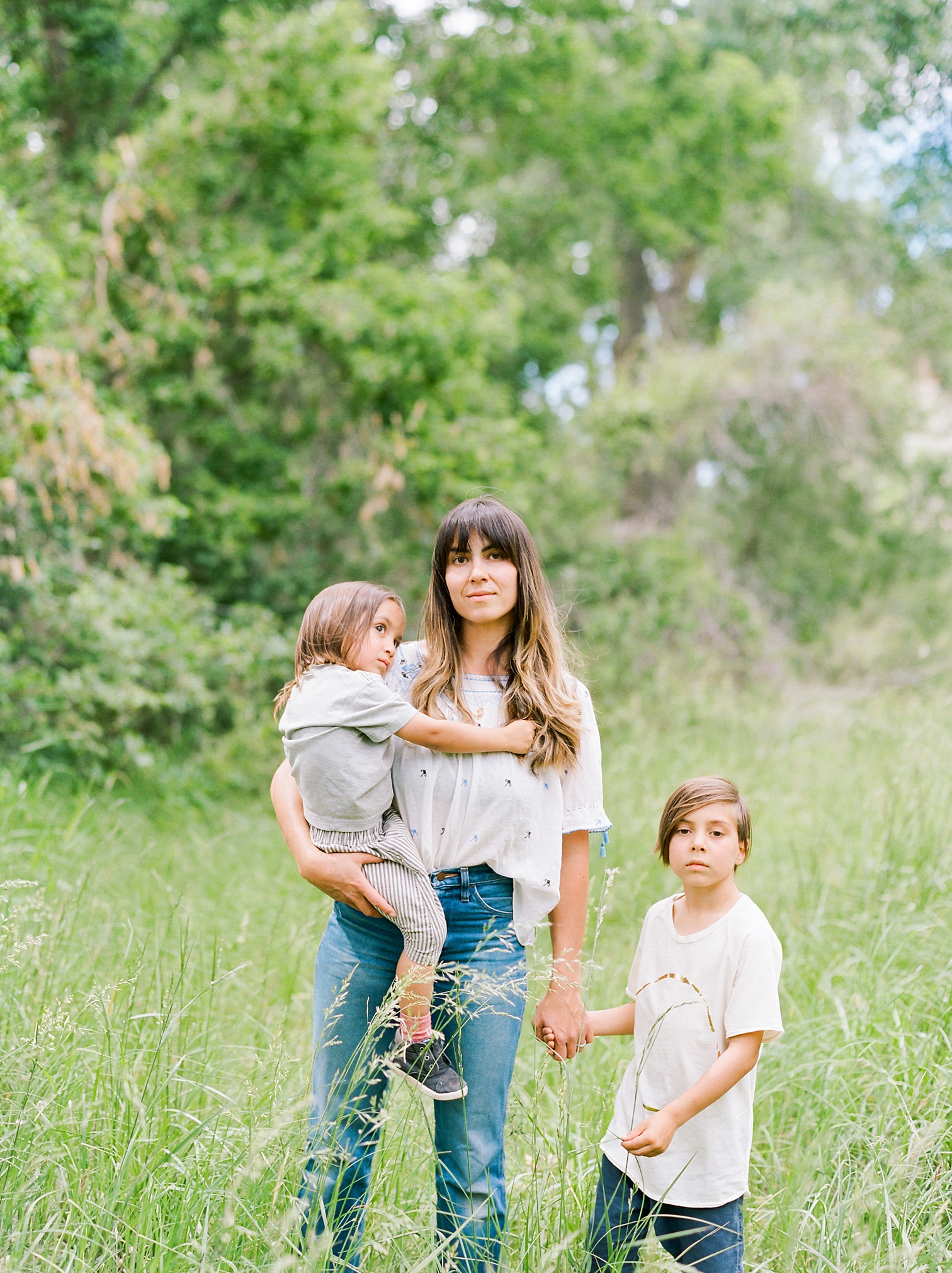 Film Photographers, Colorado Family Portraits, Fort Collins Portrait Photographer, Summer Family Portraits, Mother With Children At Park, Rolleflex Camera, Danielle DeFiore Photography