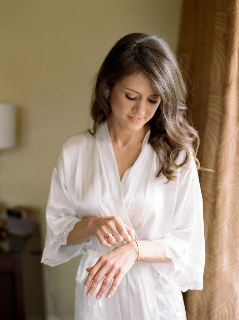 Boulder Weddings, Bride in Robe With Jewelry, St. Julian hotel