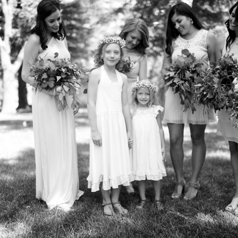 Lyons Colorado Wedding, Flower girl with bridesmaids