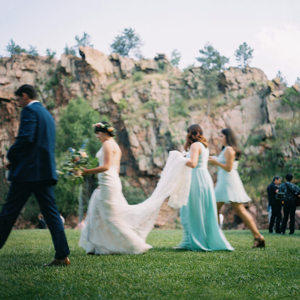 Lyons Colorado, River Bend Wedding, Bride Walking to Reception