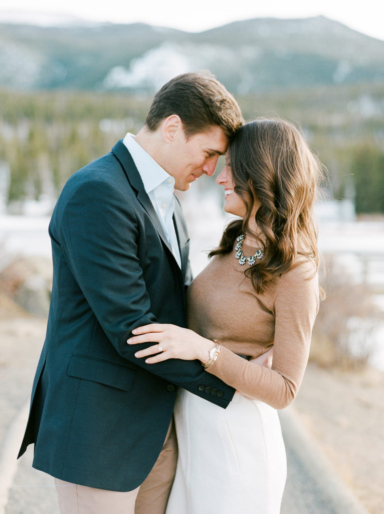 Vail Wedding Photographer, Engaged Couple Kissing