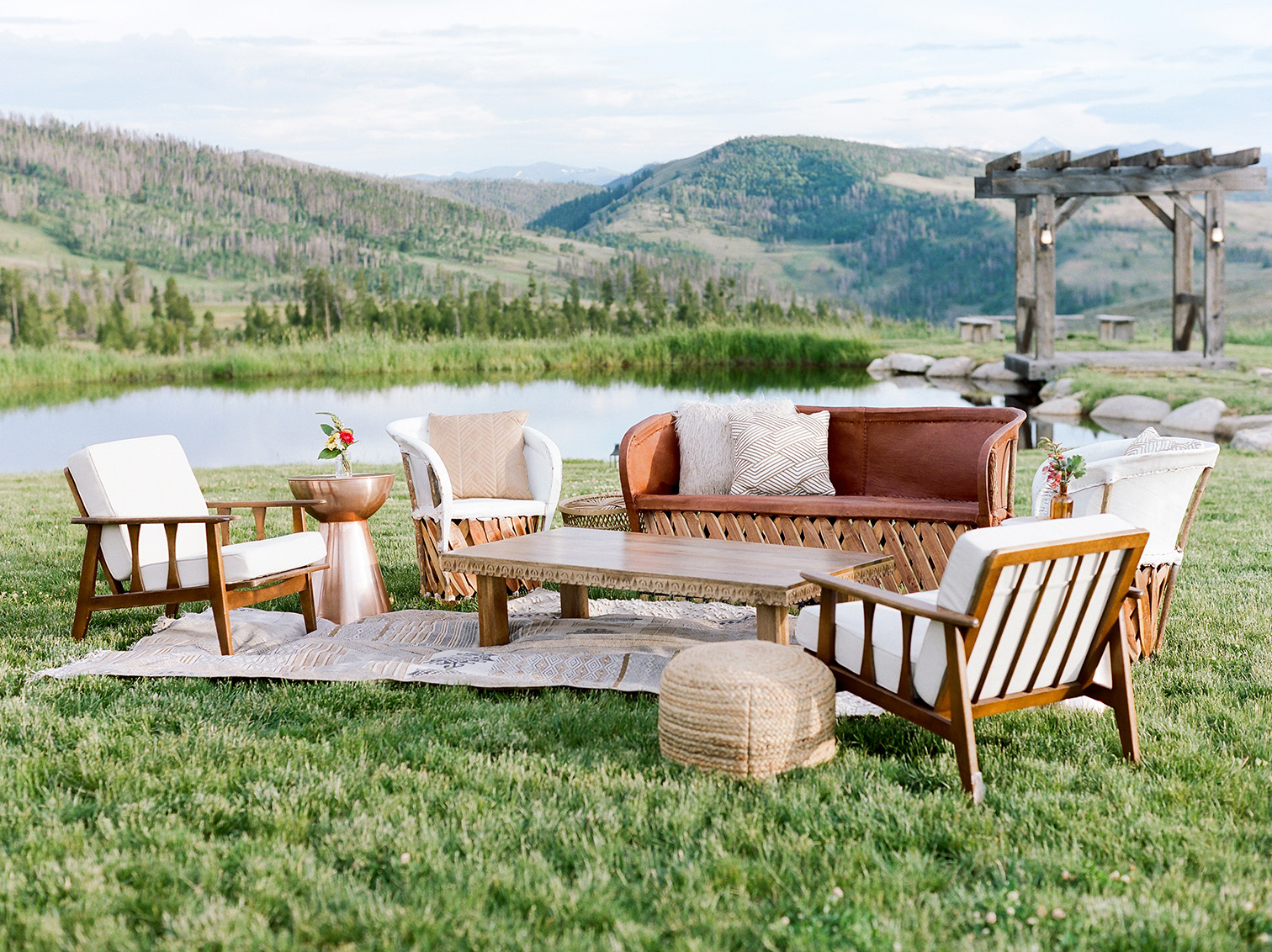 Colorado Destination Wedding, Cocktail Hour Lounge Furniture