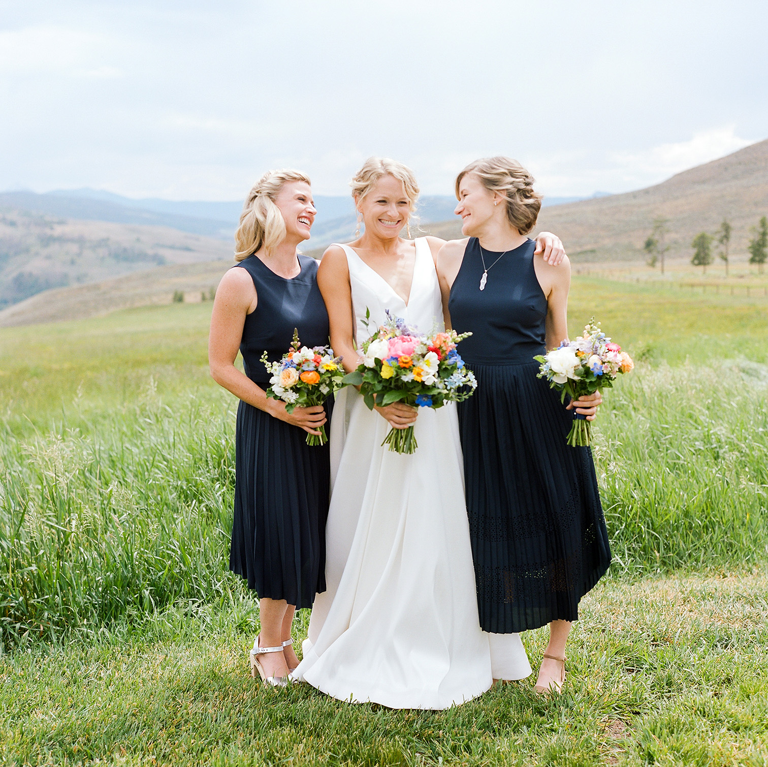 Colorado Destination Weddings, Bride with Bridesmaids, Denver Wedding Photographers