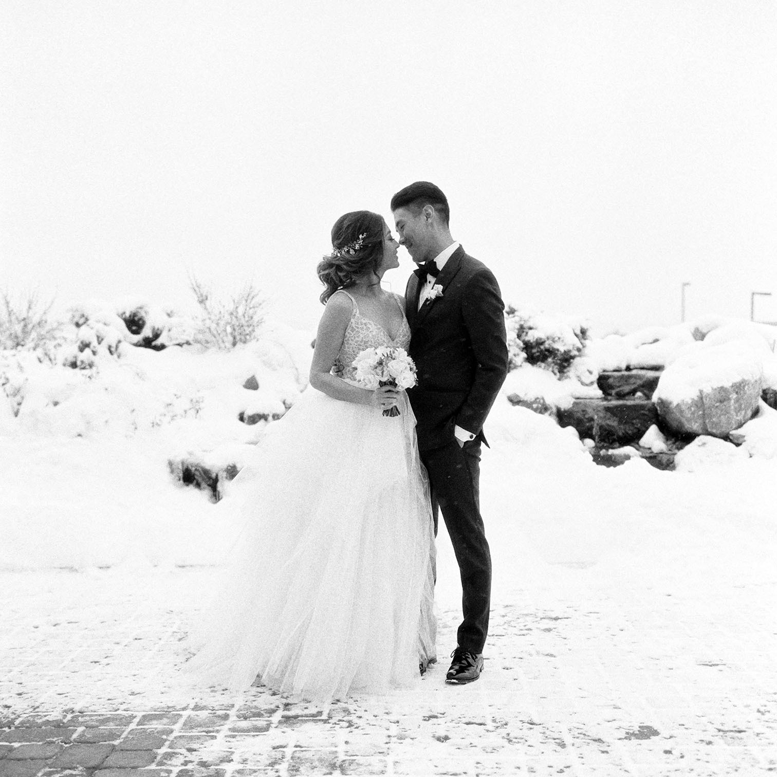 Colorado Wedding Photography, Snowy Bride and Groom Portraits, Denver Weddings