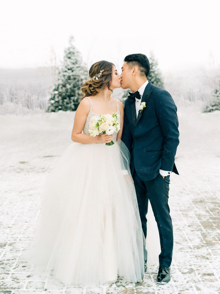 Colorado Wedding Photographers, Winter Kissing Bride and Groom, Denver Weddings