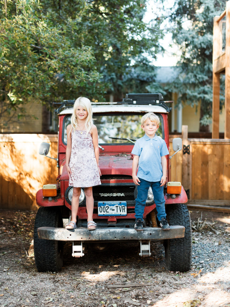 Fall Portraits, Colorado Family Portraits, Fort Collins Portrait Photographer, Fall Family Portraits, Mother with Children, Colorado Family Portraits, Siblings with Vintage Toyota Truck