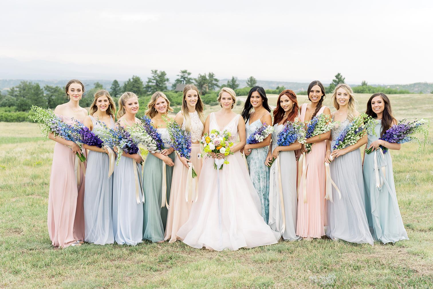 Colorado Wedding Photographers, Bride with Bridesmaids, Colorful Bridesmaids dresses, Denver Weddings, Brides Feature